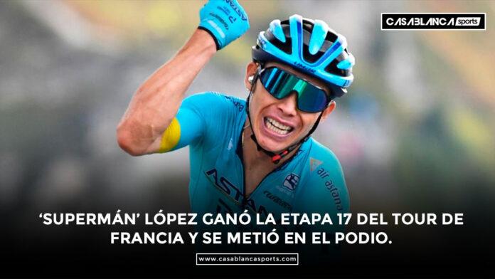 'Supermán' López ganó la etapa 17 del Tour de Francia y se metió en el podio.