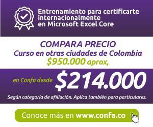 Banner Confa Certificate internacionalmente en Microsoft excel Core Manizales